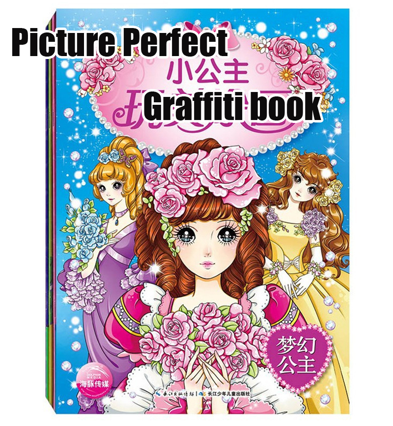 cartoon princess graffiti book color pencil painting techniques children drawing coloring books 4 booksset - Children Drawing Books