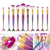 FOEONCO 10 Pcs Mermaid Tail Makeup Brushes Set For Cosmetic Powder Foundation Eyeshadow Eyeliner Lip Make