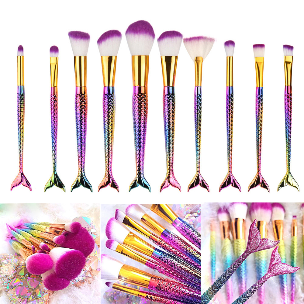 FOEONCO 10 Pcs Mermaid Tail Makeup Brushes Set For Cosmetic Powder Foundation Eyeshadow Eyeliner Lip Make