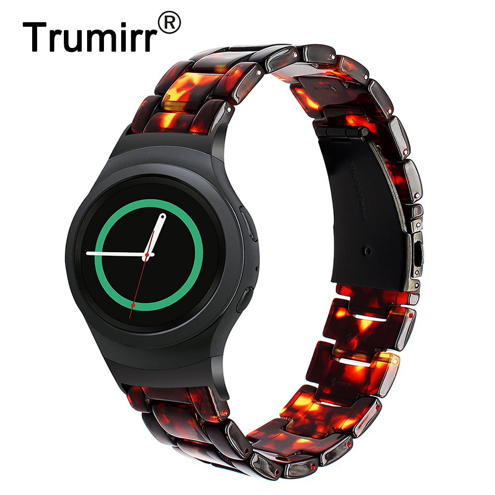 Trumirr Resin Watchband +Adapters for Samsung Gear S2 SM-R720 / R730 Smart Watch Band Stainless Steel Clasp Strap Wrist Bracelet nylon watchband for samsung galaxy gear s2 r720 durable canvas nato replacement band strap for sm r720 smart watch with adapters