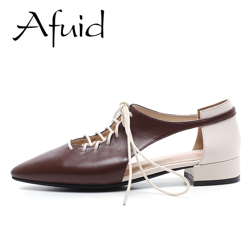 Afuid Genuine Cow Leather Women Shoes Summer Sandals Classic Pointed Mixed Colors Ankle Strap Wedges High Heels Sandals Casual 2017 superstar cow leather platform european ankle strap peep toe print mixed colors classic women increased runway sandals 0 4