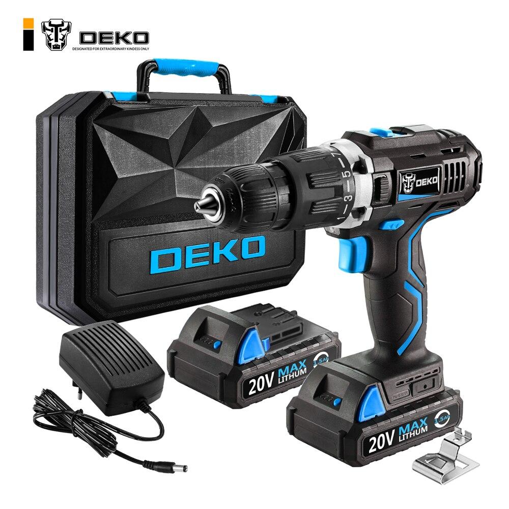 DEKO GCD20DU3 Электрическая отвертка аккумуляторная дрель ударная дрель Мощность драйвер 20-Вольт Макс DC литий-ионный Батарея 13 мм 2-Скорость