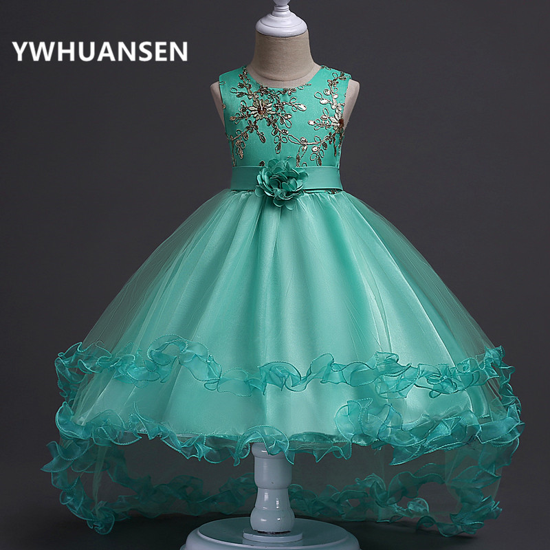 YWHUANSEN High Quality Girls Dress Flower Evening Dresses For Girls Embroidered Clothes For Girls Graduation Ball Gowns Children rhinestone flower embroidered evening bag