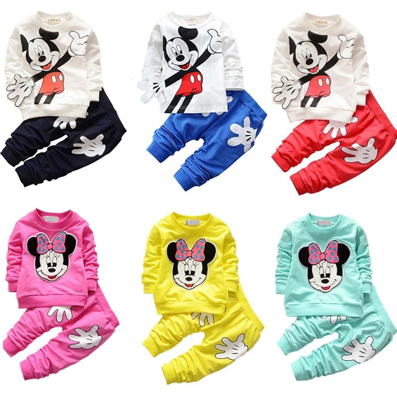 Baby Boy Clothes Long Sleeve Toddler Kids Costume Cartoon Top+Pants 2pcs Baby Girls Clothing Set 2017 Spring Children's Set