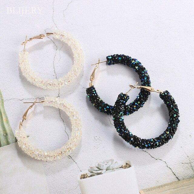 BLIJERY New Design Fashion Austrian Crystal Hoop Earrings Charm Geometric Round Shiny Rhinestone Circle Earrings Women Jewelry