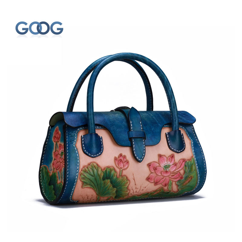 Leather carved handbag new first layer of cowhide bark skin retro style Chinese wind personality lotus stereotyped handbags improving composting of pine bark by addition of organic wastes