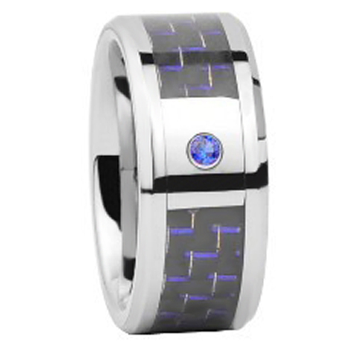 10MM Tungsten Carbide Wedding Ring with blue&black carbon fiber set blue CZ stone wholesale dropship custom engraving available