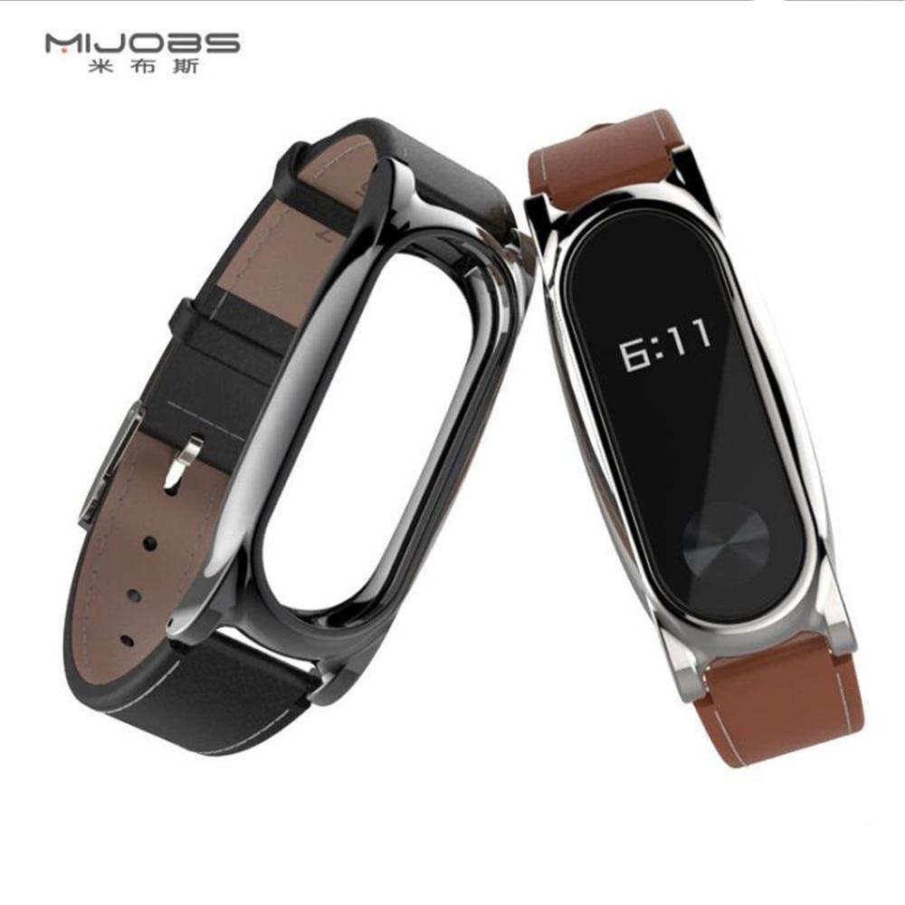 Mijobs Genuine Leather Strap For Xiaomi Mi Band 2 Smart Watch Screwless Bracelet Mi Band 2 Strap Miband 2 Strap Screwless Wrist