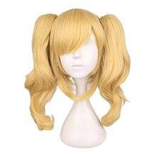 .Pdf long peruca loira ondulada misturada com 2 rabos de cavalo, cabelo sintético