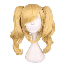 QQXCAIW Long Wavy Cosplay Mixed Blonde Wig With 2 Ponytails Synthetic Hair Wigs