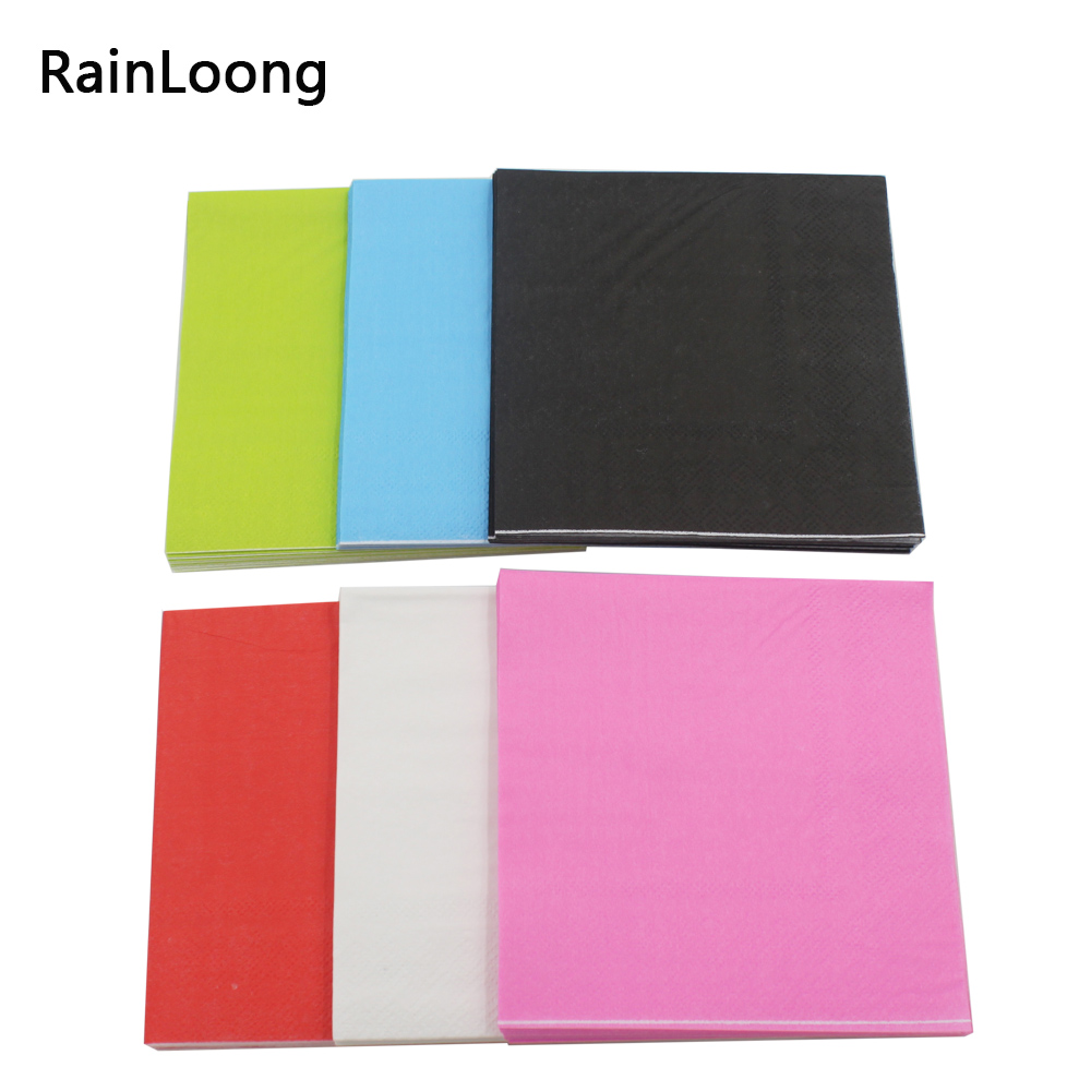 Color printing paper -  Rainloong Solid Color Paper Napkins Decoupage Printed Beverage Event Party Tissue Napkins Decoration