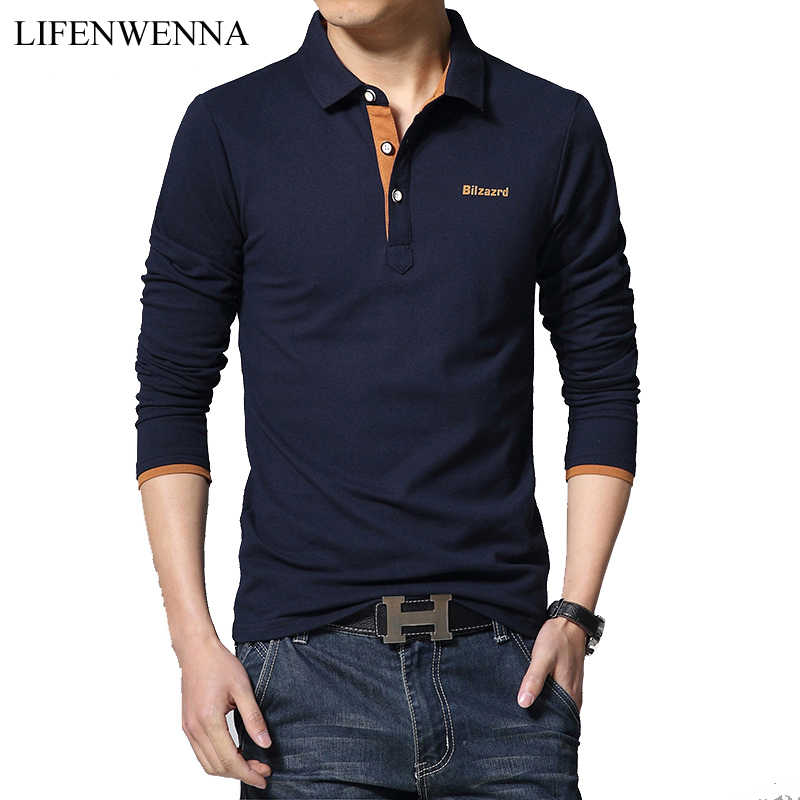 Casual Polo Shirt Mannen Mode Brief Print Lange Mouwen Heren Polo's Nieuwe Collectie Fashion Brand Polo Shirts Man hot-Koop Slim Polo