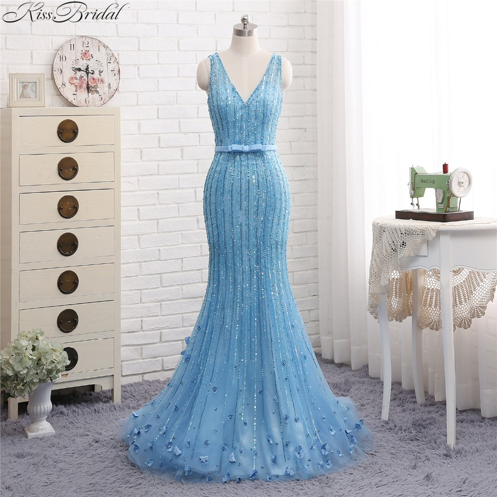 New Beautiful Light Blue Evening Gowns For Womne Eleagnt Tulle ...