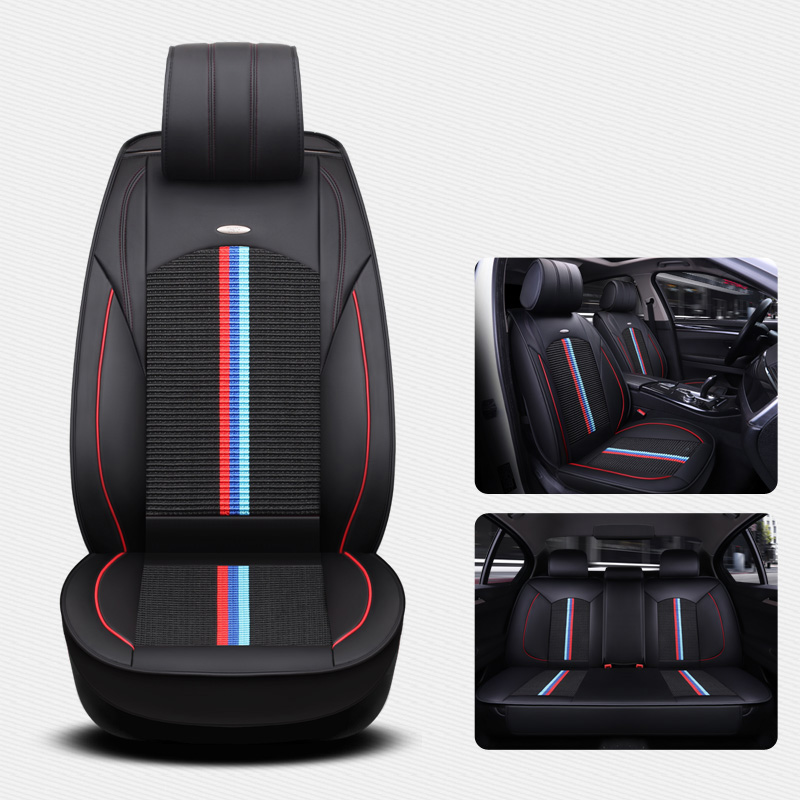 (Front + Rear) Universal Ice Silk Leather car seat covers For BMW e30 e34 e36 e39 e46 e60 e90 f10 f30 x3 x5 x6 car accessories car believe auto automobiles leather car seat cover for bmw e30 e34 e36 e39 e46 e60 f11 f10 f30 x3 x5 e35 x1 car accessories