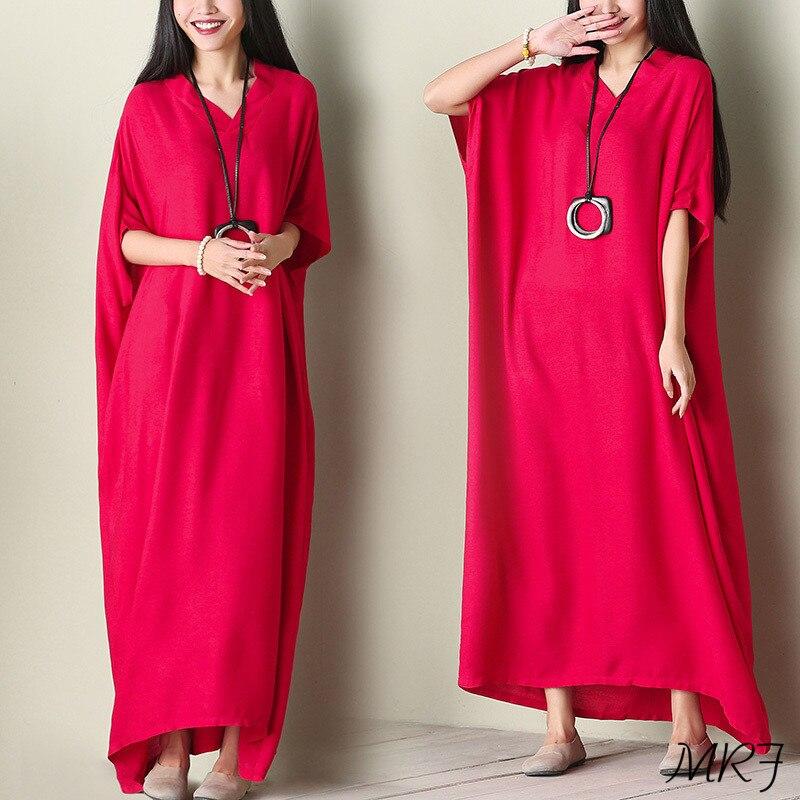 Women Dress Robe Retro Cotton Dress Long Loose Women Dresses Plus Size V Neck 2018 Spring Summer All Match Cheap Women Cloth