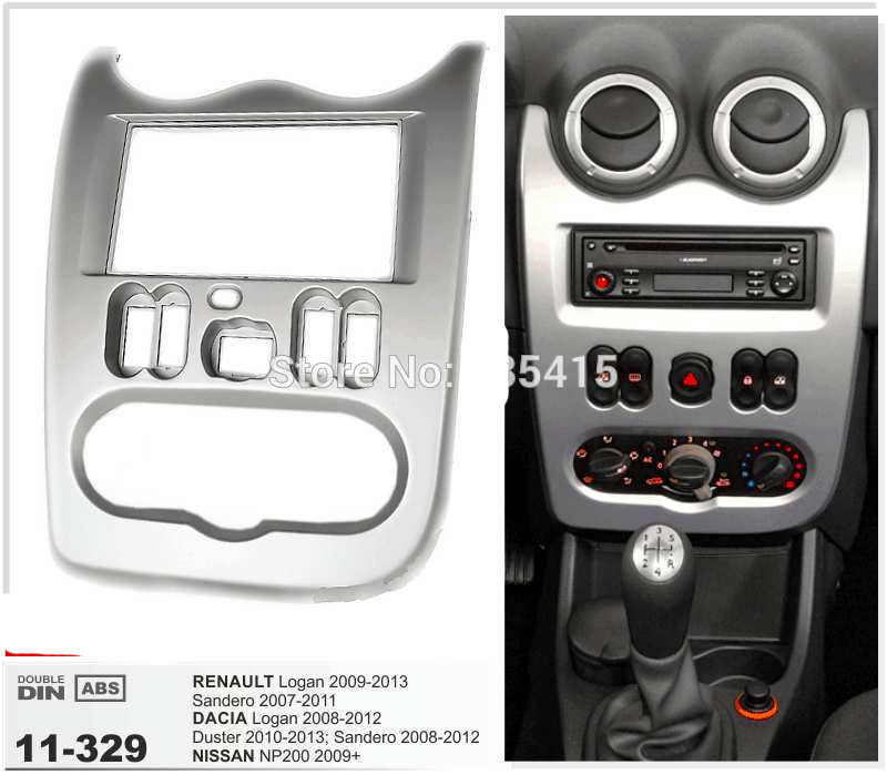 11-329 Car Radio Fascia Frame for RENAULT Logan;Sandero/DACIA Logan,Duster/ NP200 Fascia Dash CD Trim Installation Kit 11 405 car radio dash cd panel for kia skoda citigo volkswagen up seat mii stereo fascia dash cd trim installation kit