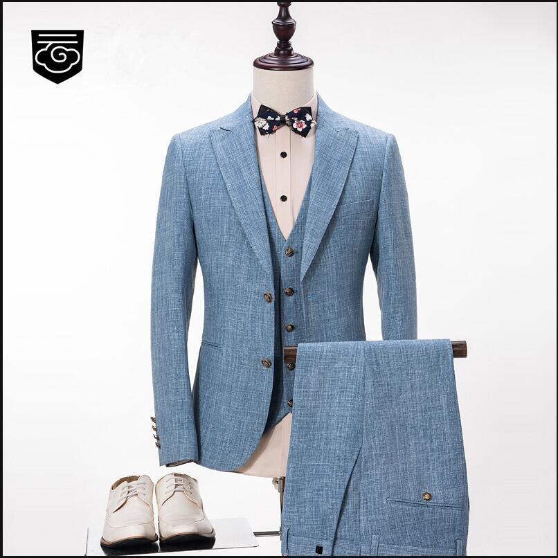 Azul claro Estilo de La Marca de Moda de Los Hombres Trajes de Chaqueta y Pantalones  Chaleco 3 Unidades Novio Masculino Boda Prom Tuxedo Formal de Negocios ... 638d7adb5fc