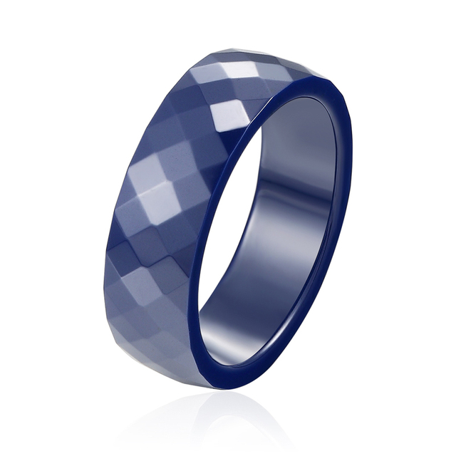 2017 Top Quality Personality Dark Blue And Black Multi-Faceted Ceramic Rings Men