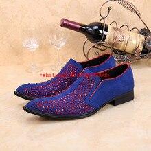 Мужские модельные туфли в европейском стиле со стразами; синие мужские бархатные лоферы с острым носком; обувь для вечеринок