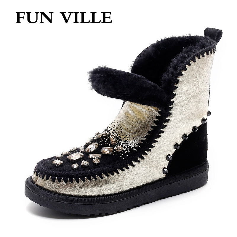 FUN VILLE New Fashion Woman snow boots gold silver Real Fur Wool Ankle boots warm Winter Shoes for Women size 34 43