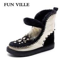 ZABAWA VILLE Nowa Moda Kobieta snow boots złoto srebro Rzeczywistym Wełna, futro botki ciepłe Zimowe Buty dla Kobiet rozmiar 34-43
