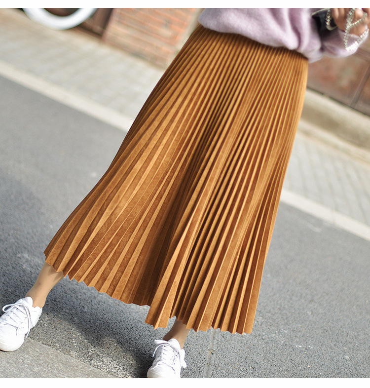 19 Two Layer Autumn Winter Women Suede Skirt Long Pleated Skirts Womens Saias Midi Faldas Vintage Women Midi Skirt 51