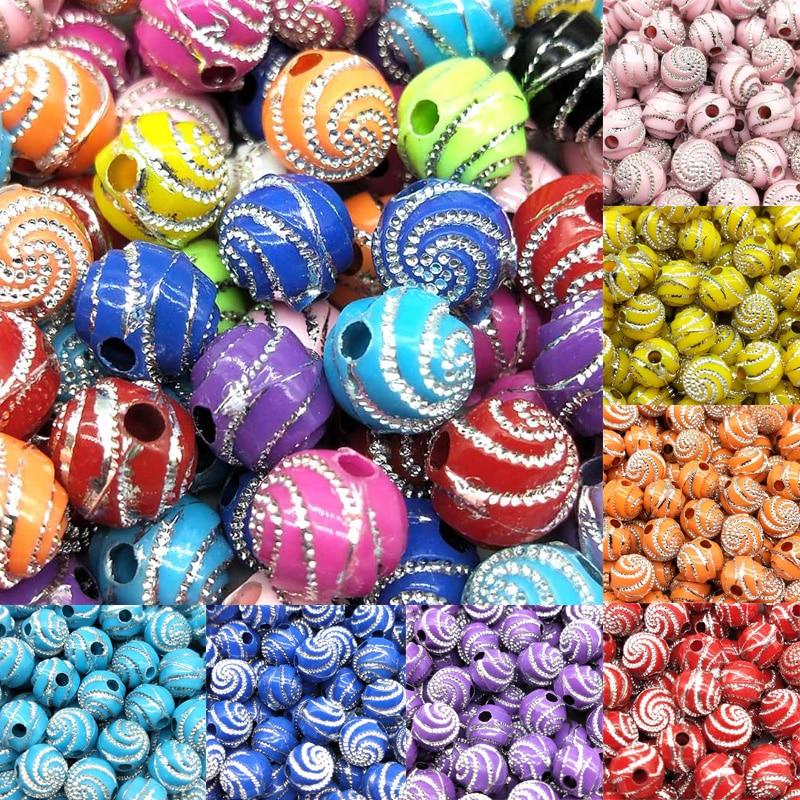 100 шт./лот мм/партия 8 мм дешевые горячие модные бусины 11 цветов акриловые бусины для браслета ожерелье DIY Аксессуары Круглый спиральный узор подарок