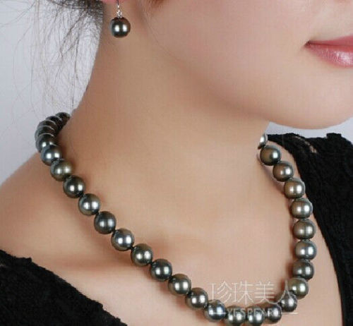 free shipping Fashion 9-10MM NATURAL TAHITIAN BLACK PEARL NECKLACE 18'' free earrings set цена и фото