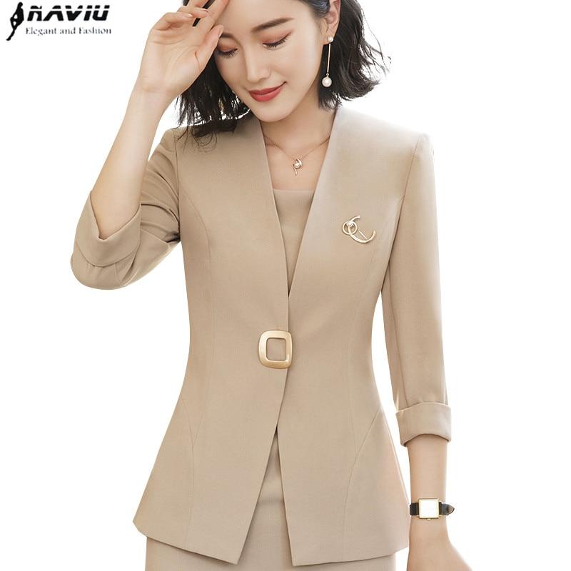 Professional Blazer Female 2018 New Fashion Temperament Summer Half Sleeve Slim Jacket Women Office Ladies Plus Size Formal Coat