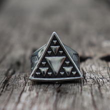 Mens Silver Color Minimalism Geometric Triangle Symbol 316L Stainless Steel Statement Rings Punk Fashion Biker Jewelry