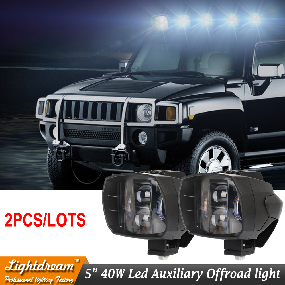 Pair of 40W led headlight 5inch New Led Driving Light 12V 24V led fog light used for car truck suv atv marine New External Light brand new universal 40 w 6 inch 12 v led car work light daytime running lights combo light off road 4 x 4 truck light