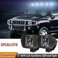 Pair of 40W led headlight 5inch New Led Driving Light 12V 24V led fog light used for car truck suv atv marine New External Light
