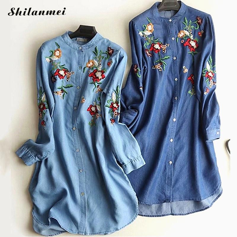Women Vintage Ethnic Demin Dresses 2019 Summer Autumn Long Sleeve Dress Vestido Jean Feminino Plus Size Casual Shirt