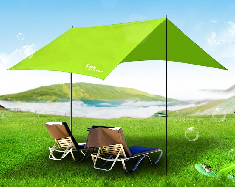 Super marquee canopy tent gazebo camping beach camping outdoor awning anti-UV 450g 20d double sided silicon tarpe ultralight sun shelter beach tent pergola awning canopy taffeta tarp camping sunshelter