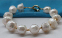 8 Genuine Natural 12 16mm White Baroque Pearl Bracelet 14k #f2135!Noble style Natural Fine jewe Fast (D) SHIPPING
