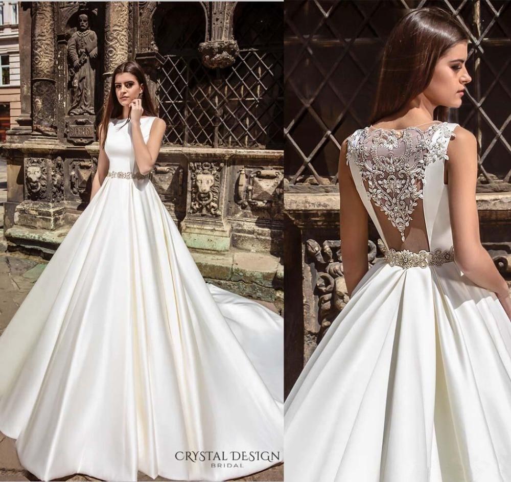 Embellishments Accent Back Crystal Design Wedding Dresses