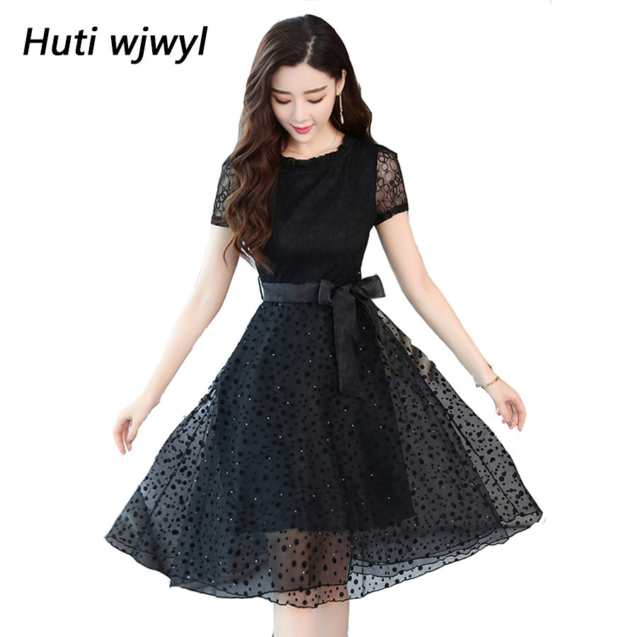 Summer Holoow Out Lace Dress Plus size Maxi sundress Boho 2018 Elegant Women  club Midi dresses 635d9729067e