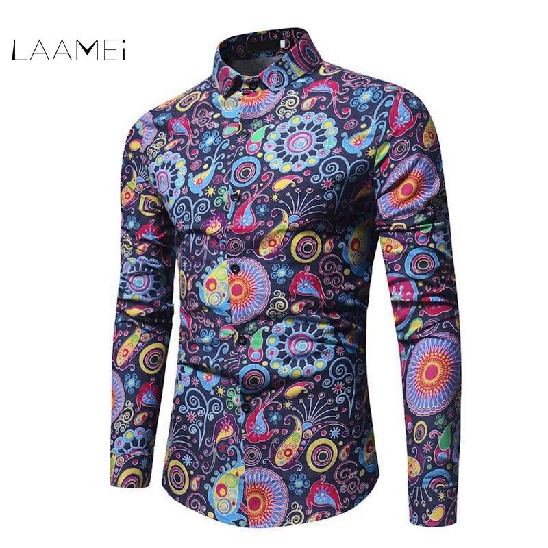 Laamei Fashion Trend Flower Shirt Men 2018 Spring Floral Print Shirts Brand Clothes Casual Business Hawaiian Long Sleeve Shirts