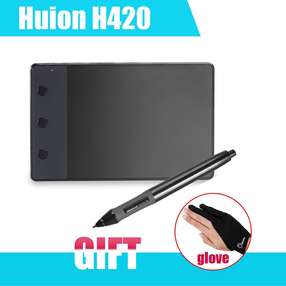 """Prix pour HUION D'origine H420 Graphique Dessin Tablette Numérique 4x2.23 """"avec Stylo pour Ordinateur + Anti-fouling Gant comme Cadeau"""