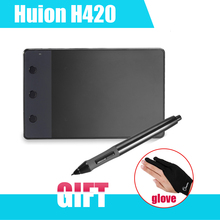 HUION Original H420 Graphic Drawing Digital Tablet 4 x 2.23″ with Pen for Computer + Anti-fouling Glove as Gift