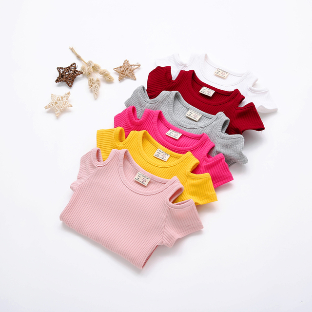 Summer Baby Girls Candy Color Off-shoulder Short Sleeved Kids T-shirt Cotton Clothes Tops Cute New