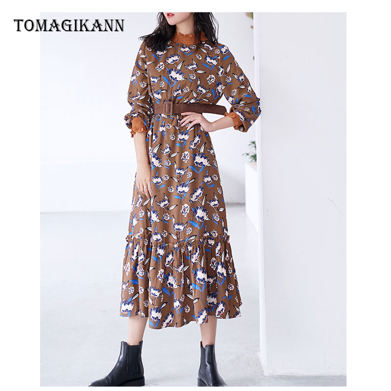 2019 Fashion Print Floral Ruffled Collar Petal Sleeve Mid Calf A Line Women Dresses Vestidos Female Dress in Dresses from Women 39 s Clothing