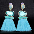 2019 Trendy Brand Tassel Fringe Drop Earrings With Crystal Stone Statement Charm Tassel Earrings For Women Jewelry