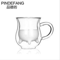 PINDEFANG 1 PC 300 ml/8 OZ Criativo paredes Duplas Xícara de Leite com lidar com Diárias Drinkware Caneca De Suco de Xícara de Chá Quente venda de Água Pessoal