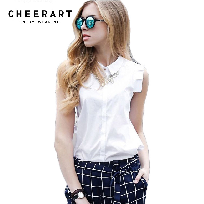 100% Cotton Sleeveless Women Blouse Summer Style Shirt Women White Blouse Female Top Ladies Office Shirts For Women