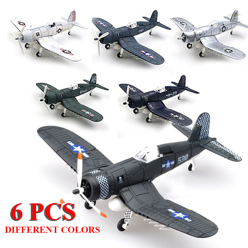 6Pcs/Set Different 1/48 Scale Assemble Fighter Model Toys Building Tool Sets Flanker Combat Aircraft Diecast Pirate Based F4U