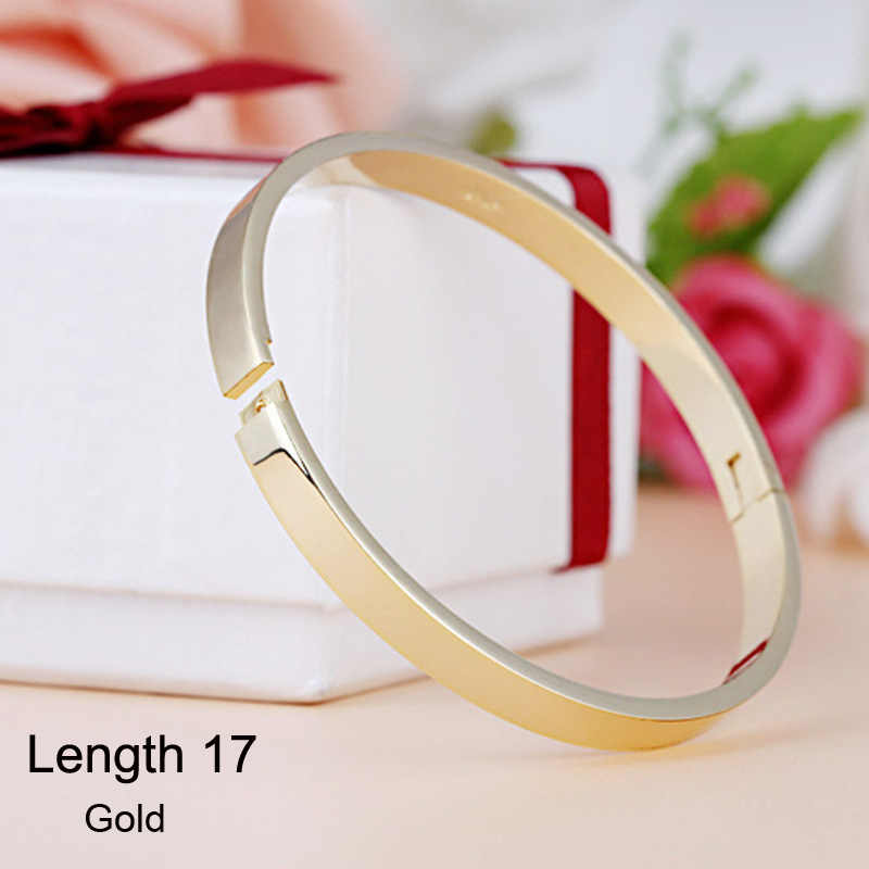 Luxo amante manguito pulseiras & bangles topo prata cor marca casais simples esmalte fivela amor charme pulseira para mulher ou homem