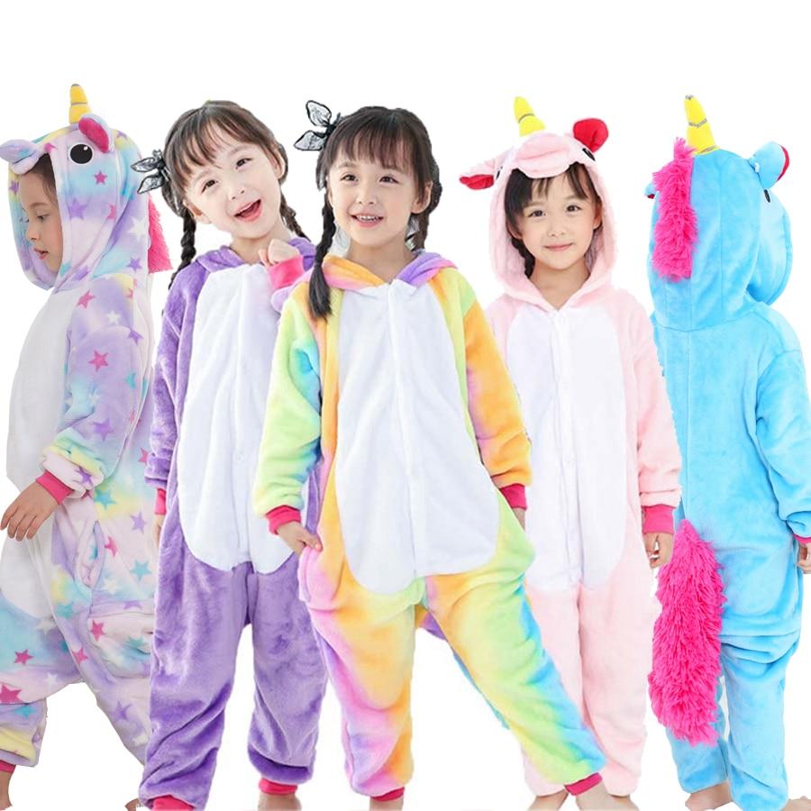 Bambini Pigiama Unicorno Inverno Pigiama Cartone Animato Un Pezzo Pigiameria licorne Corallo Del Panno Morbido Pigiama Caldo de Ninos Unicornio Inverno