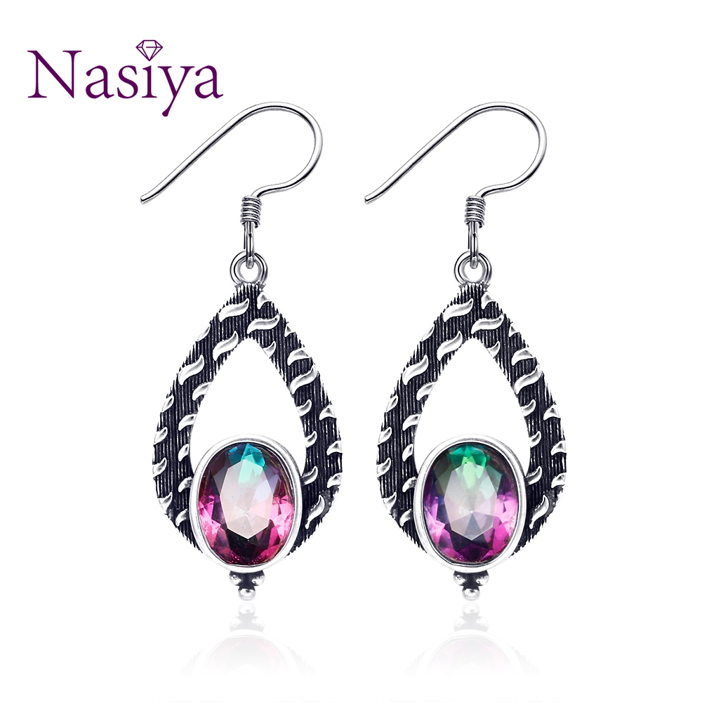 Pretty Ethnic Style Rainbow Mystic Topaz Gemstone Women 39 s Drop Earrings Silver Jewelry For Wedding Anniversary Engagement Party in Earrings from Jewelry amp Accessories