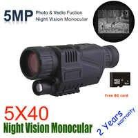 WG540 Infrarot Digital Night Vision Fernrohre mit 8G TF karte volle dark 5X40 200M reichweite Jagd monokulare Nachtsicht Optik